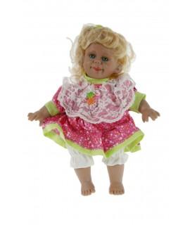 Muñeca con carácter y vestido de color rosa y cabello rubio