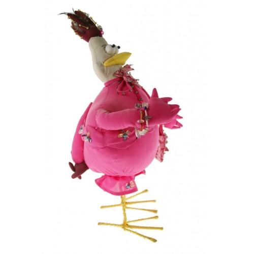 Muñeco de trapo forma de gallina de color rosa