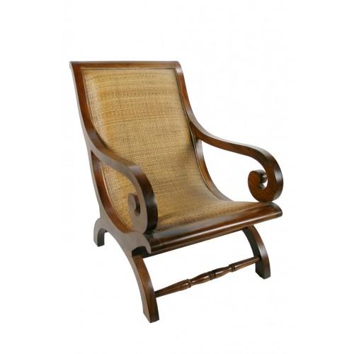 Chaise En Teck Et En Rotin Rustique