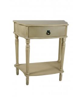 Mesita de noche o mueble auxiliar con cajón color blanco patinado. Medidas: 80x74x40 cm.