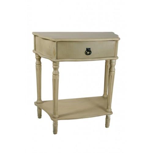 Mesita noche de madera con cajón estilo vintage.