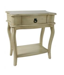 Mesita de noche o mueble auxiliar con cajón ligeramente envejecida con patina. Medidas: 73x65x36 cm.