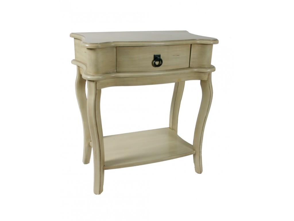 table de chevet patine blanc avec tiroir central d cor rustique cru. Black Bedroom Furniture Sets. Home Design Ideas