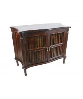 Consola baja de madera con puertas decoración libro. Medidas totales: 75x42x100cm.