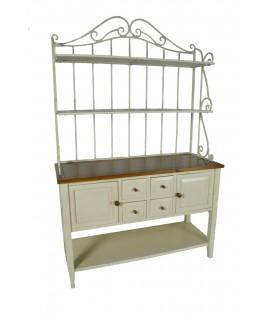 Aparador con estantes en hierro y madera envejecida vintage rustico