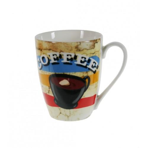 Taza mug taza para café, chocolate, de porcelana color blanco diseño dibujo estilo vintage para los desayunos