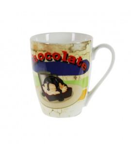 Taza mug de cerámica para desayuno con diseño chocolate