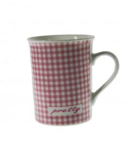 Taza té y café de cerámica para desayuno con diseño cuadros color rosa