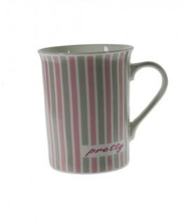 Taza té y café de cerámica para desayuno con diseño rayas color rosa