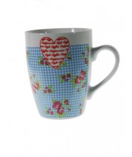 Taza mug taza para café de porcelana color azul diseño flores estilo vintage para los desayunos