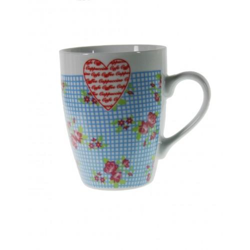 Taza mug de cerámica para desayuno con diseño flores color azul