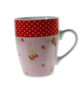 Taza mug para desayuno con diseño flores. Medidas: 10xØ8 cm.