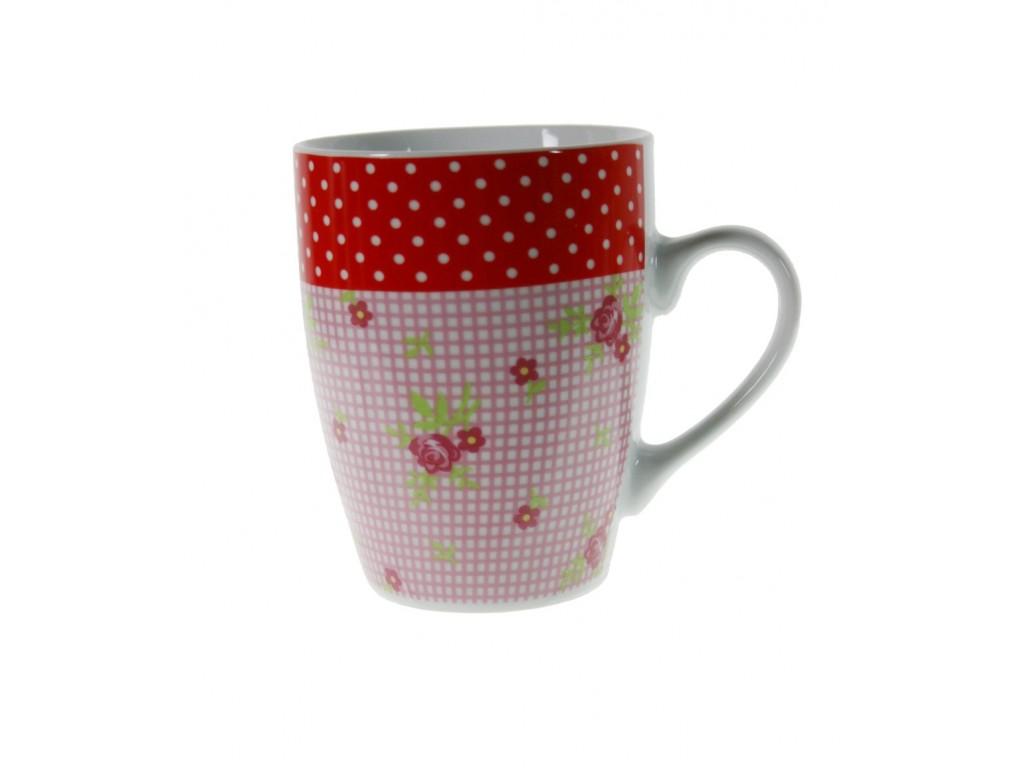 Taza mug de cerámica para desayuno con diseño flores color rosa