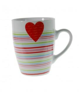Taza mug de cerámica para desayuno con diseño rayas y corazón rojo