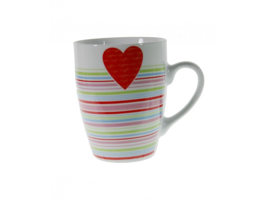 Taza mug de cerámica para desayuno con diseño rayas y corazón rojo estilo vintage romantico