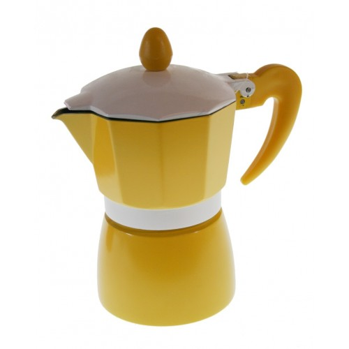 Cafetera para dos tazas de café de color amarillo y estructura de aluminio para café tradicional menaje de cocina