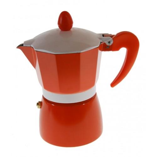 Cafetera para dos tazas de café de color naranja y estructura de aluminio para café tradicional menaje de cocina