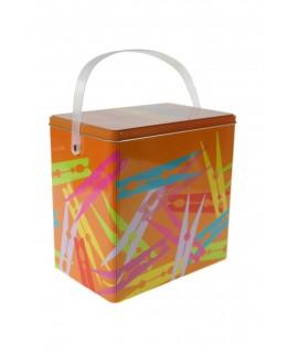Caja metal pinzas color naranja