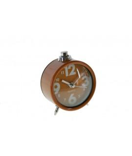Reloj despertador analógico redondo color naranja estilo clásico