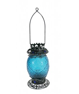 Portaespelmes de vidre i metall color blau