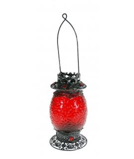 Lanterne bougeoir verre et métal couleur rouge décoration ambiance cadeau