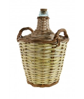 Garrafa Damajuana vidrio de 8l. forrada con caña almacenar vino y licor