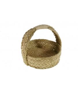 Panera redonda de esparto y cuerda hecha a mano. Medidas: 20xØ22 cm.