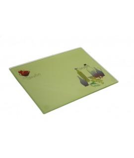 Planche à découper en verre trempé avec décoration alimentaire ustensile de cuisine. Mesures: 1x24x17 cm.