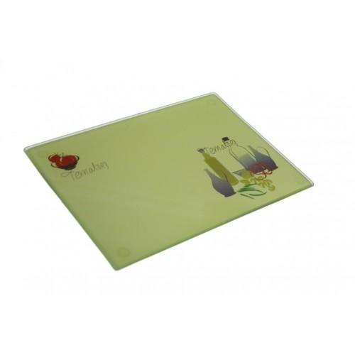 Tabla de corte de vidrio templado con decoración para cocina