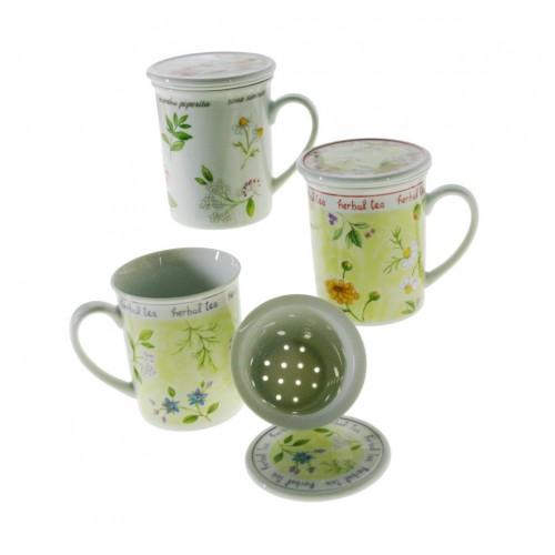 Taza de infusión con filtro de porcelana tisana para té decorada menaje de cocina mesa
