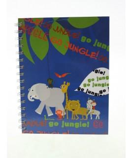 Libreta infantil Jungla tapas rígidas plastificadas de hojas rayadas. Formato: A5