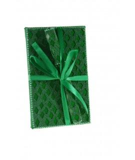 Petit cahier avec strass verts pour notes et stylo
