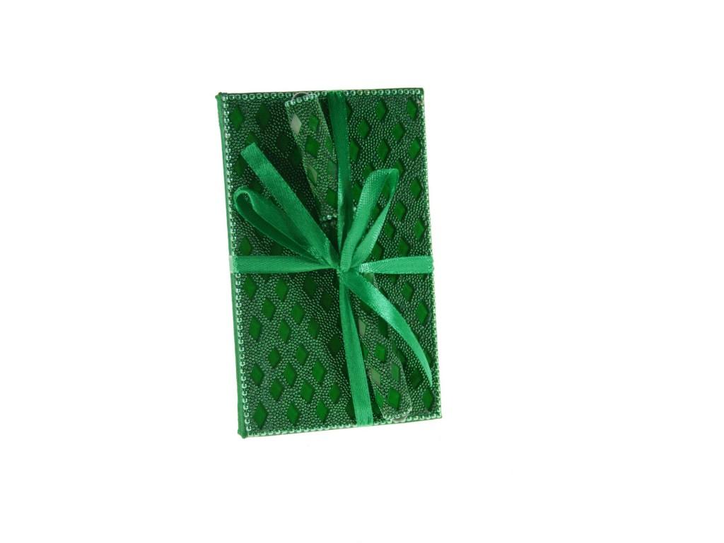 Libreta pequeña con pedrería color verde para notas y bolígrafo