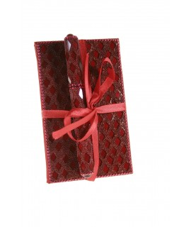 Llibreta petita amb pedreria color granat per notes i bolígraf