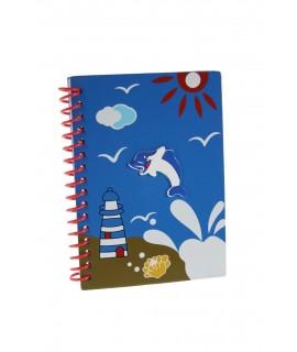 Cahier à spirale avec couvertures en bois bleu