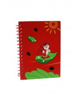 Libreta espiral con tapas de madera color rojo