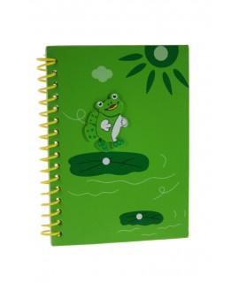 Cahier à spirale avec couvertures en bois vert