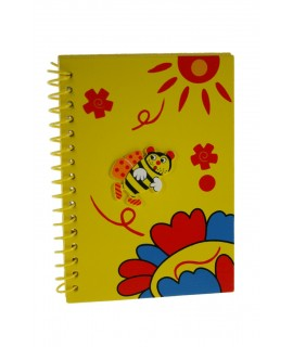 Libreta espiral con tapas de madera color amarillo