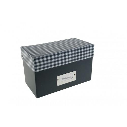 Caja recetario de cocina VICHY color Azul