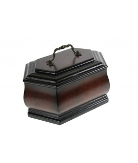Cofre urna gran de fusta color nogal amb nansa decoració clàssic