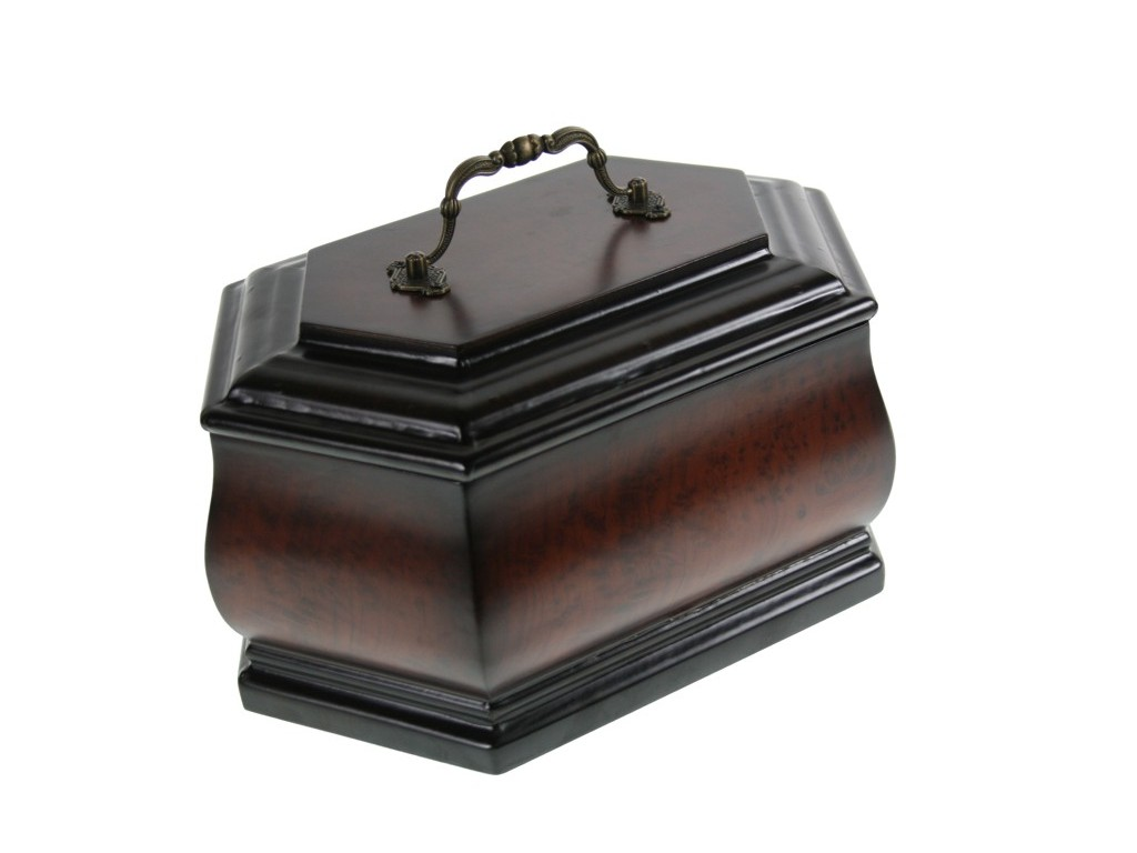 Cofre urna grande de madera color nogal con asa decoración clásico