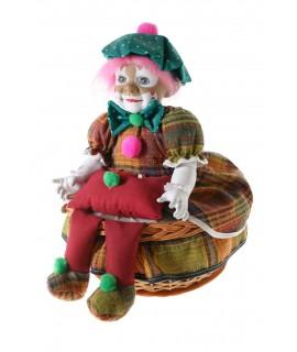 Costurero de mimbre redondo clásico con muñeco payaso: Medidas totales: 36xØ26 cm.