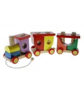 Train en bois magnétique avec passagers