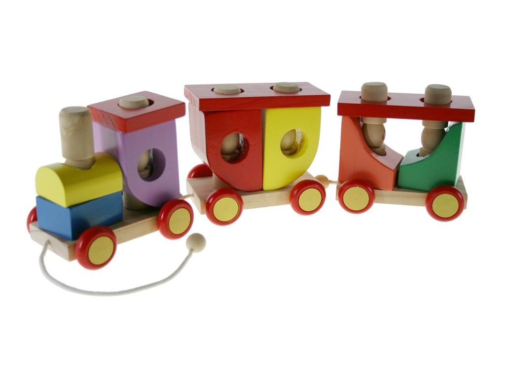 Tren de madera magnético con pasajeros
