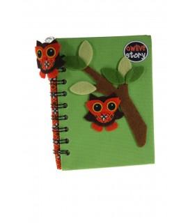 Libreta Notas infantil Tapa Tela -color Verde-