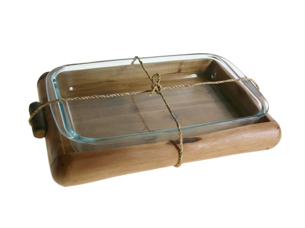 Bandeja de vidrio con salvamanteles