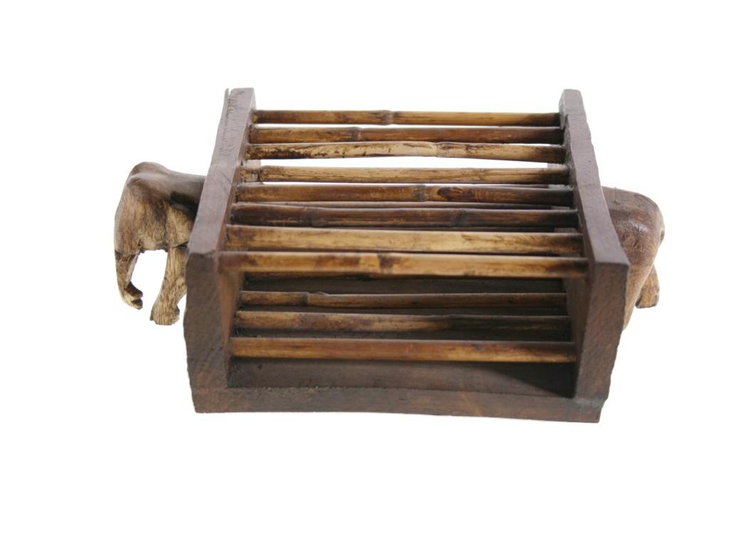 Porta CDS madera con talla elefante