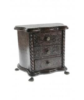 Boîte à bijoux en bois en simili cuir gaufré couleur noyer. Dimensions: 26x31x19 cm.