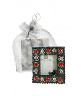 Mini cadre photo avec strass et sac d'emballage.
