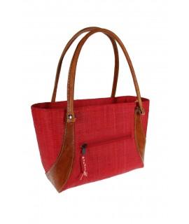 Bolso de Rafia de señora decolor rojo con forro